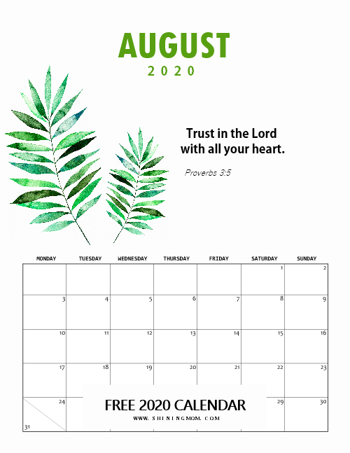 August Calendar 2020 Christian Themed
