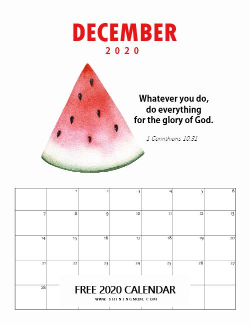December 2020 Monthly Calendar for Kids