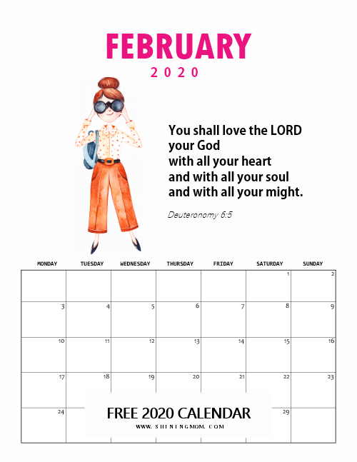 February Monthly Calendar with Bible Verse for Kids