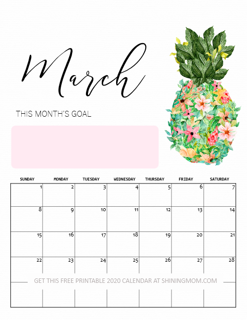 printable March 2020 calendar beautiful