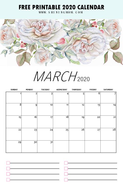 printable March 2020 calendar floral