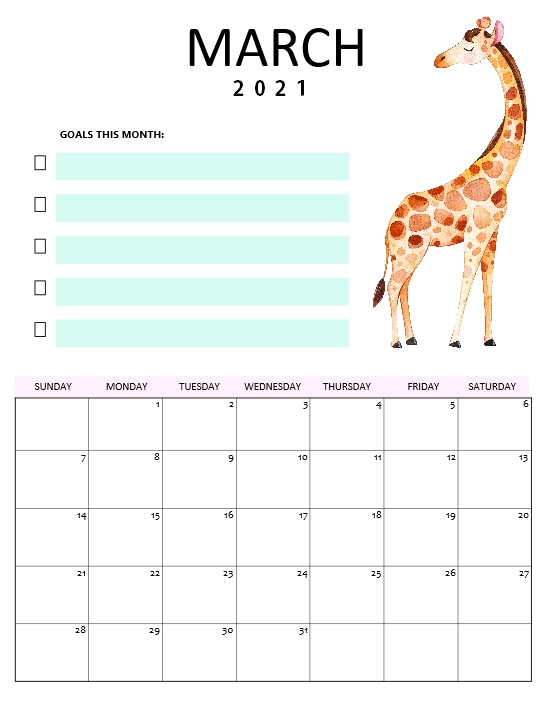 March 2021 calendar for kids
