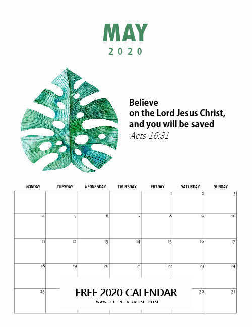 May 2020 Calendar Free Printable