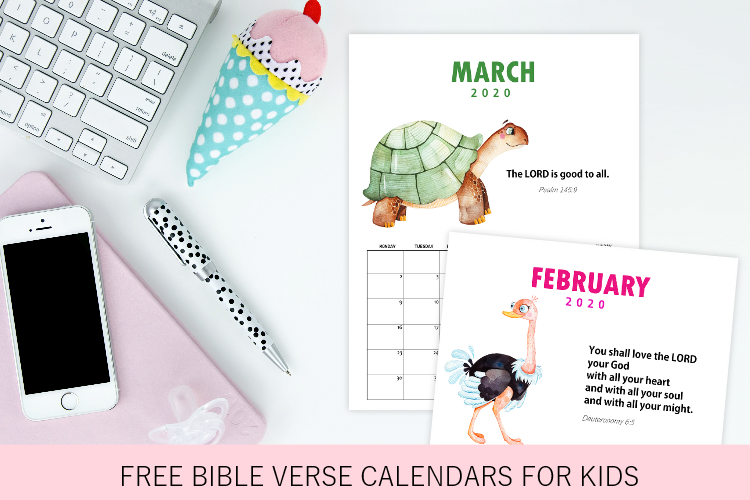 FREE 2020 Monthly Calendar with Bible Verses for Kids