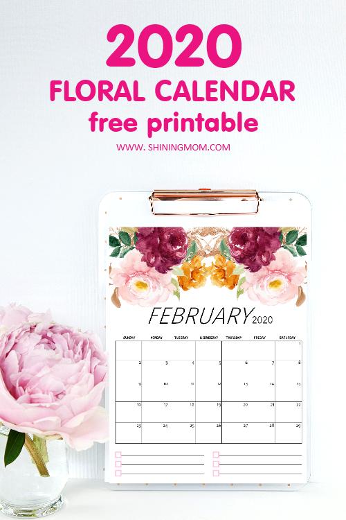 February 2020 Calendar Free Printable