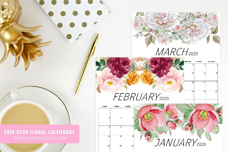 2020 Calendar in Stunning Florals {Free Printable}