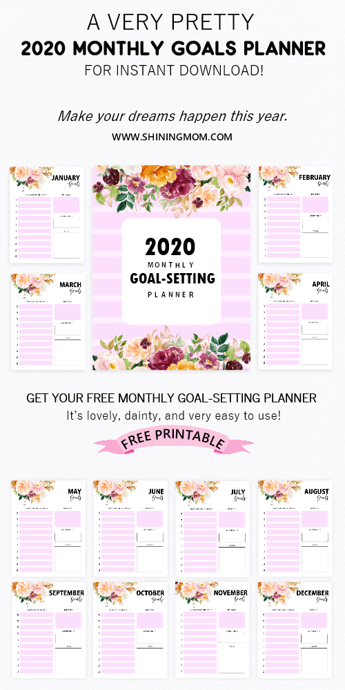 2020 goals planner free printable