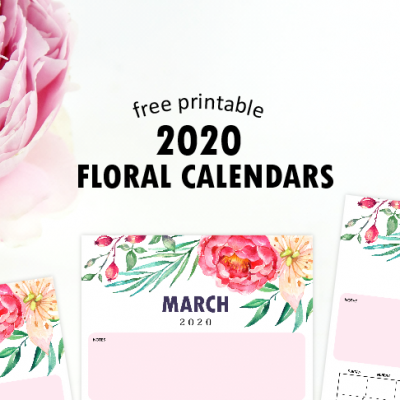 2020 Monthly Calendar Printable with Notes in Lovely Floral Theme!