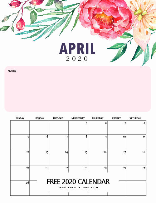 April 2020 monthly calendar printable