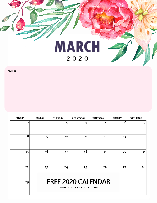 March 2020 monthly calendar printable