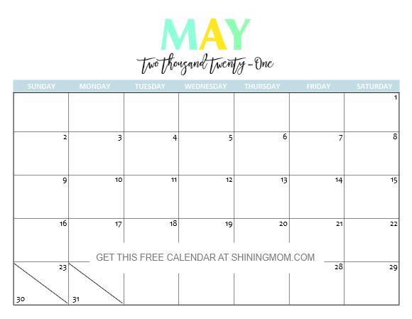 Free Printable 2021 Calendar So Beautiful Colorful