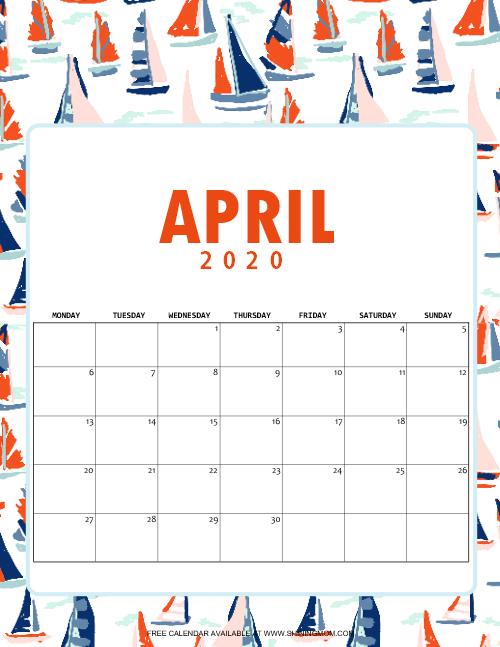 Cute April Calendar 2020