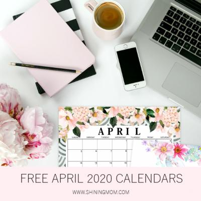 Free Printable April 2020 Calendar: 12 Awesome Designs!