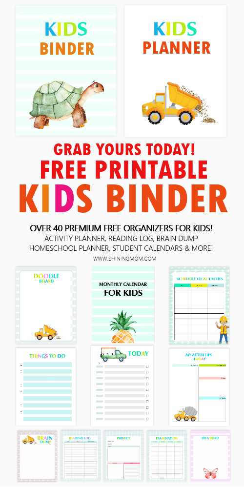 kids binder free printable