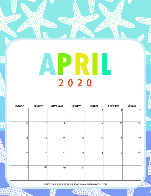 April 2020 School Calendar for Kids