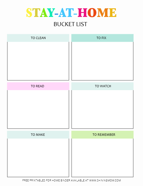 stay at home bucket list