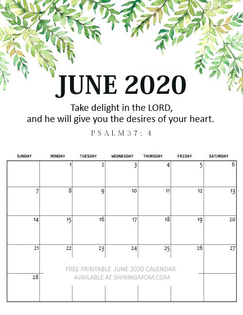 free printable June 2020 calendar Bible verse