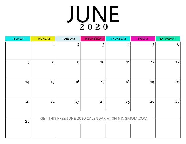 free printable June 2020 calendar PDF