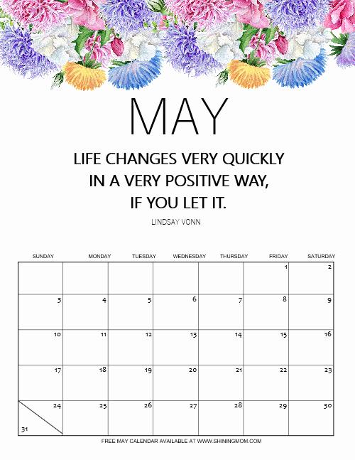 free May 2020 calendar motivational