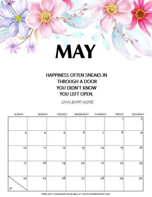 free printable May 2020 calendar beautiful