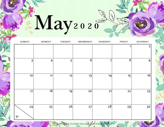 May calendar 2020 free printable