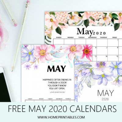 Free Printable May 2020 Calendar: 12 Awesome Designs!