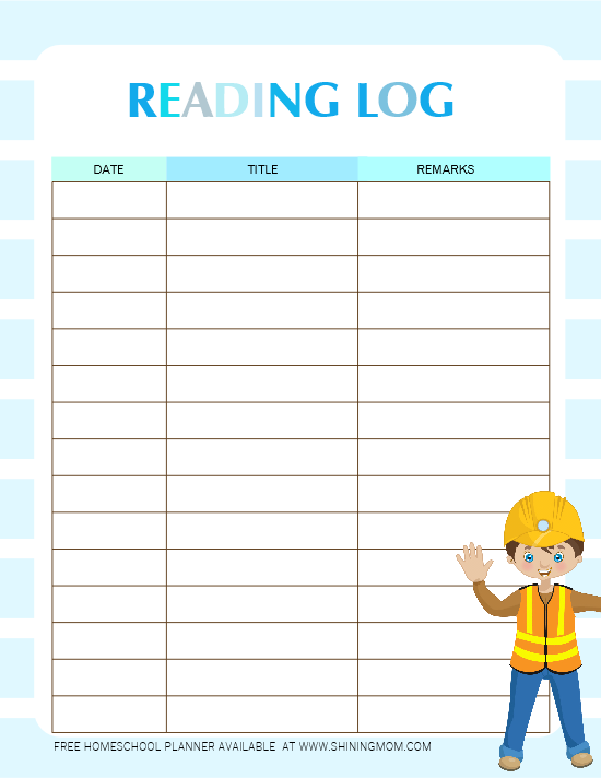 reading log free printable for students
