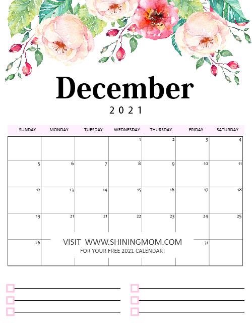 Free Printable Calendar 2021 in PDF: Beautiful Florals ...