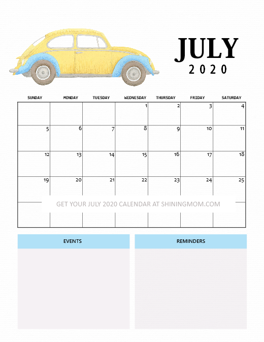 Cute July 2020 calendar for kids