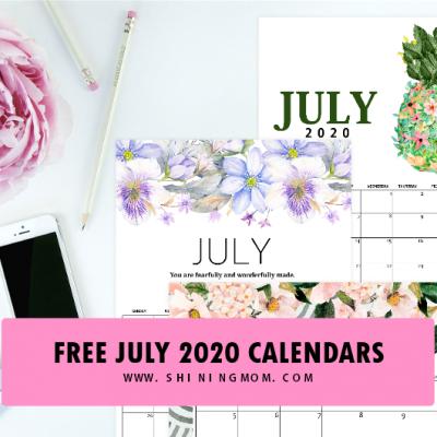 Free Printable July 2020 Calendar: 12 Awesome Designs!