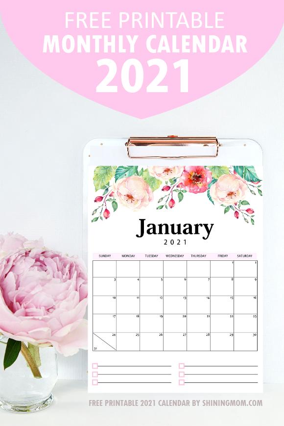 monthly calendar 2021 free printable