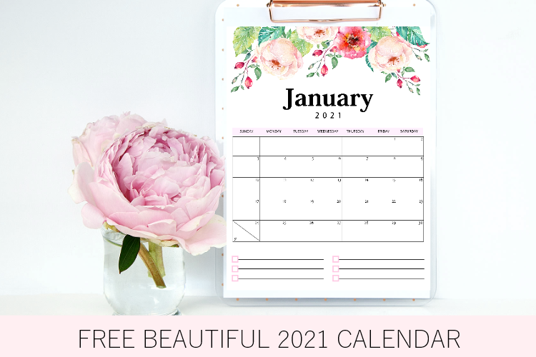 Free Printable Calendar 2021 in PDF: Beautiful Florals with Notes!