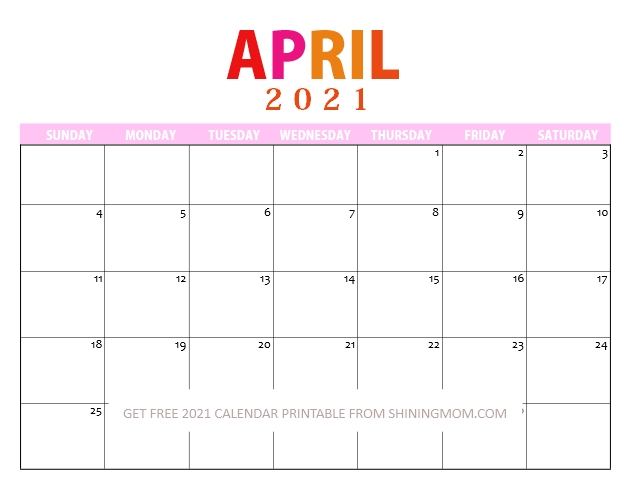 April 2021 Printable Free