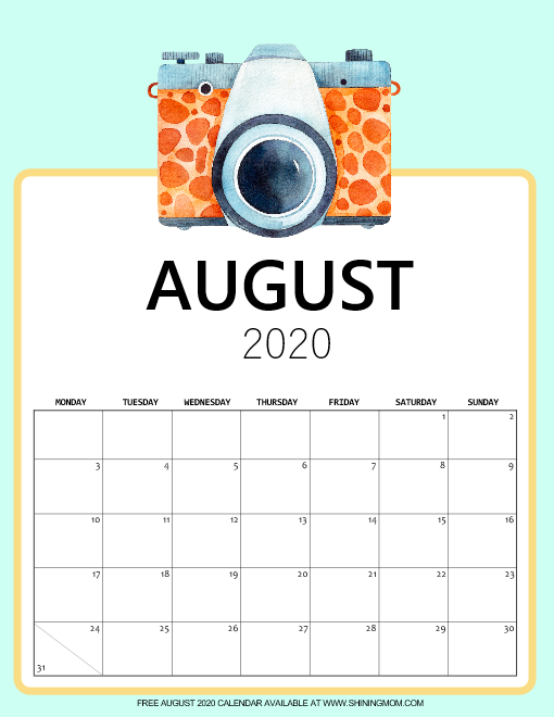 cute August 2020 calendar pdf