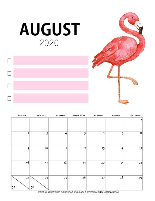 minimalist August 2020 calendar