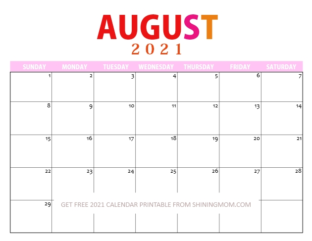 August Calendar 2021 in PDF downloadable