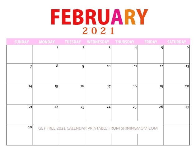 February 2021 Printable Calendar PDF
