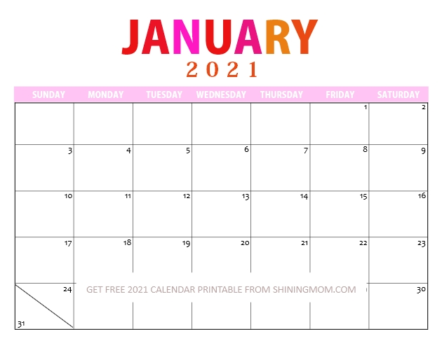January 2021 Printable Calendar PDF