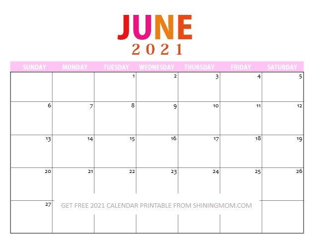 June 2021 Calendar Free Printable