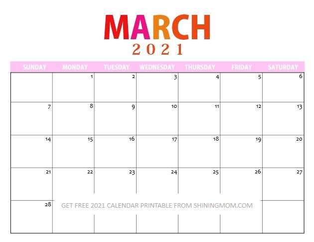 March Calendar 2021 Printable Free
