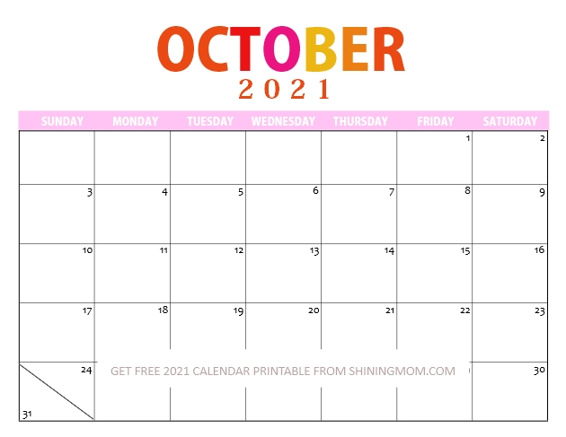 Cute October Calendar Printable in PDF