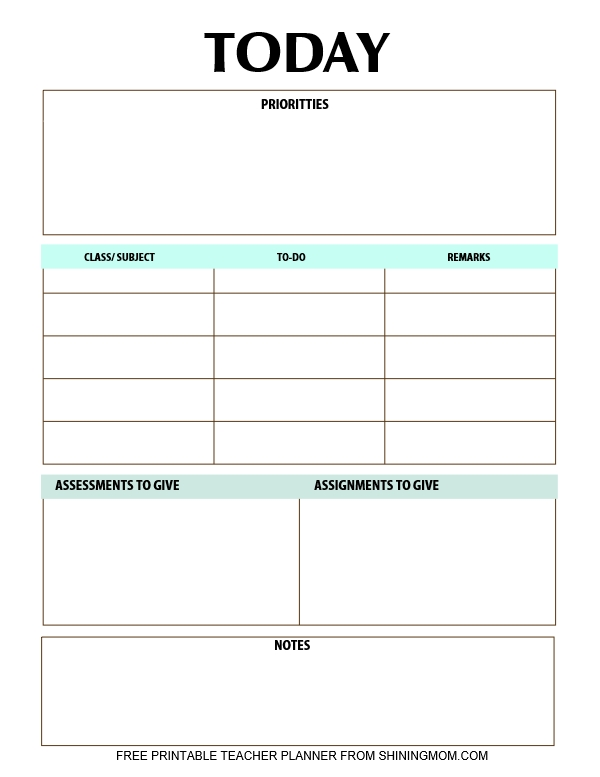 daily planner for teachers