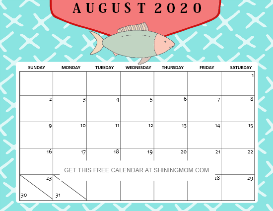 August 2020 calendar cute for kids