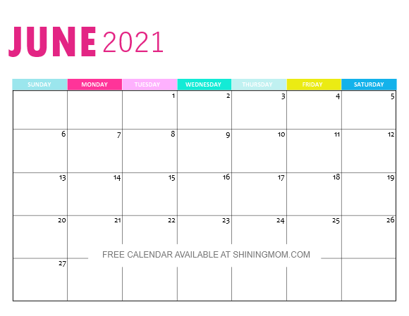 June 2021 monthly calendar printable
