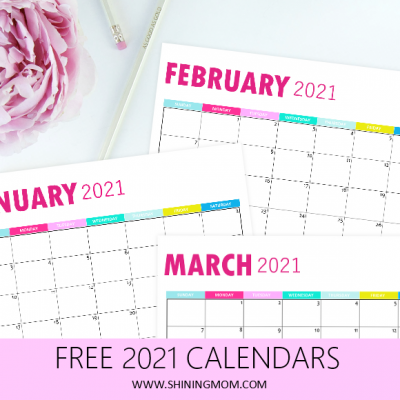 2021 Monthly Calendar Printable: So Pretty in Pink!