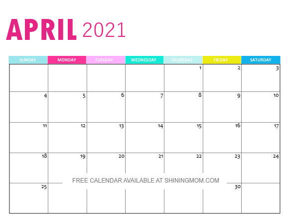 April 2021 monthly calendar