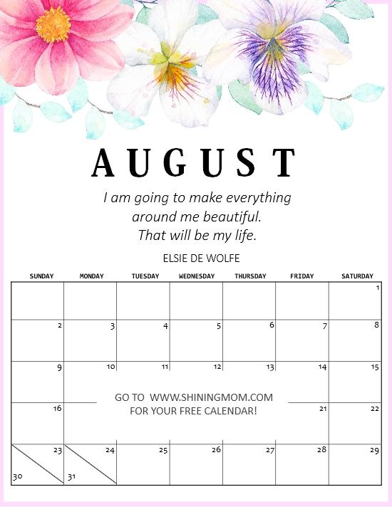 August calendar motivational