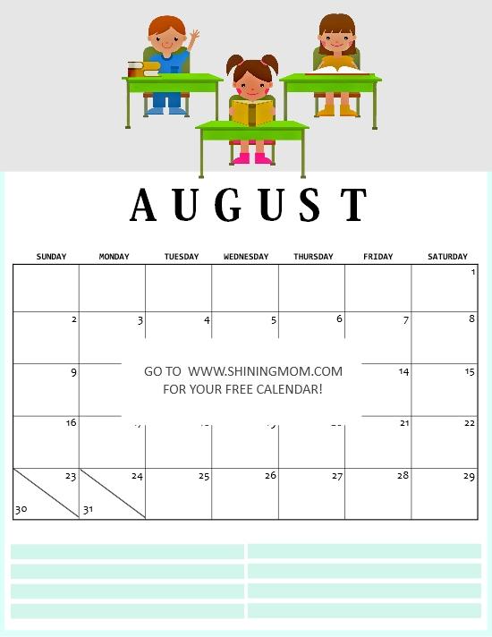 August 2020 school calendar