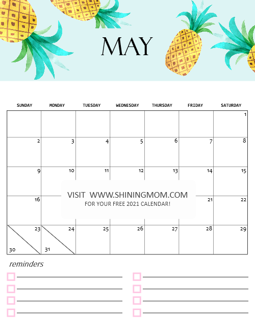 May 2021 calendar printable cute
