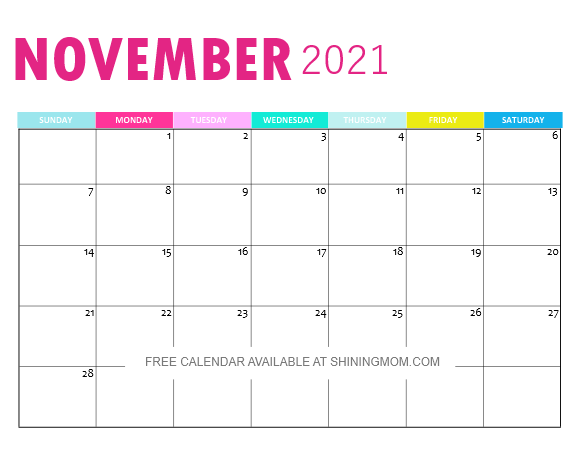 November 2021 calendar monthly printable pdf